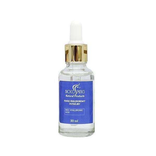 Kwas hialuronowy potrójny w szklanej butelce Biocosmetics (1) - kosmetyki naturalne